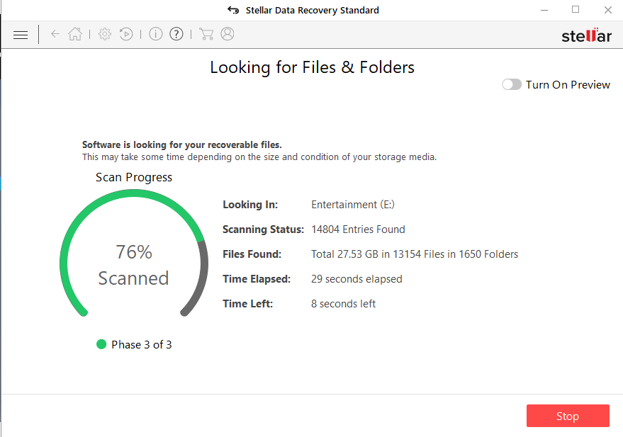 Stellar Free data recovery software